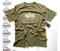 Футболка Alpha Industries BASIC LOGO TEE (OLIVE)