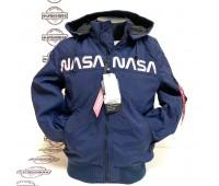 Куртка Alpha Industries MA-1Hooded NASA (Blue)