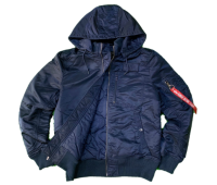 Куртка утепленная Alpha Industries MA-1 Hooded Rib (Replica Blue)