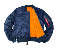 Куртка Alpha Industries утепленная MA-1 Slim Fit (Replica Blue/Orange)